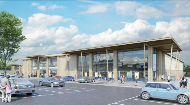 CGI of the five other retail units planned as part of the Higher Trewhiddle Farm development in St Austell